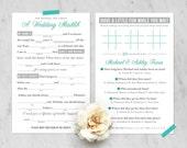 Custom Listing for Ashley—Printable   Customizable Wedding Madlib/Trivia Game