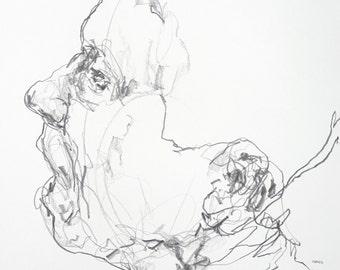 "Minimal Expressive Portrait Drawing  - 11 x 14"",  fine art - Drawing 289 - graphite on paper - original drawing"