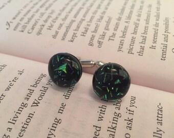 Dichroic glass,Glass Cufflinks - Mens Jewelry- Dichroic Glass Cufflinks -Multicoloured Starburst Cufflinks -Fused Glass Cufflinks -Mens Gift
