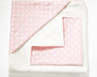 Hooded Baby Towel and Washcloth set - Pink Swiss Cross - Fully lined