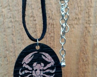 Wooden Scorpion Necklace