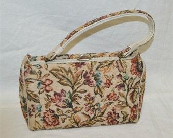 Vintage 1950's Square Box Shape Tapestry Handbag Bag Purse
