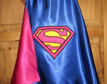Supergirl Cape / Girls Pink & Blue Superman Cape / Super Hero Cape / Childrens Cape / Authentic Superman Cape /  Reversible Cape