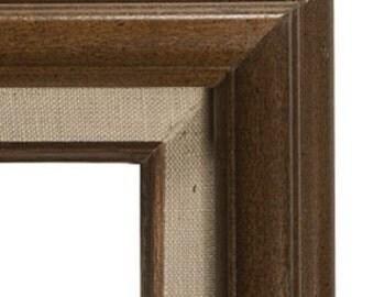 Vintage 8x10 Brown Wood Frame with linen detailing - vintage wedding decor, vintage frame, vintage wood frame