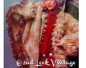 1970s Crochet Pattern Vintage Faux Fur Coat Shawl Beret Digital Download PDF