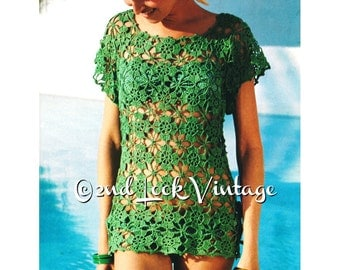 Vintage 1970s Crochet Pattern Lacy Flower Beach Cover Up Mini Dress Tunic Blouse Digital Download PDF