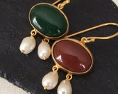 CARNELIAN Earring antique ancient replica inspired sterling 22 carat gold pearl