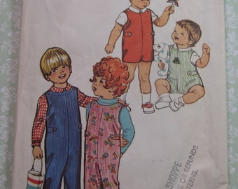 Vintage 1970s Simplicity Sewing Pattern 5050 Toddlers Jumpsuit in Two Lengths & Shirt Size 1/2 (one half) Breast 19 Waist 19 Cut/Complete
