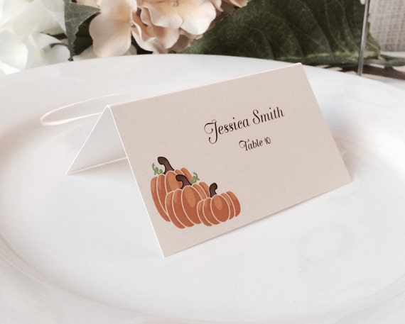 autumn fall pumpkin orange escort cards place cards holiday