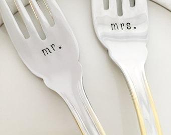 Mr. & Mrs., wedding gold lined forks, hand stamped