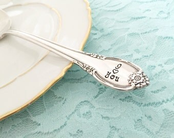 I love you:  vintage hand stamped serving spoon. Remembrance ...