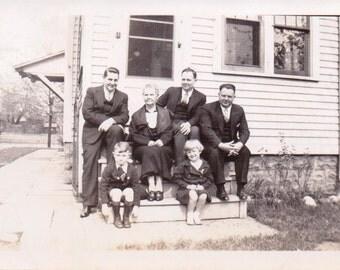 Family on the Steps - Vintage Photograph - Ephemera - Paper Ephemera - Vernacular (A)