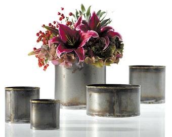 Rustic metal vase, flower vase, cache pot, bud vase, tin container, succulent planter, indoor planter, unique planter