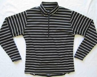 Women's fun stripe cycling jersey - Classic black and White - Large
