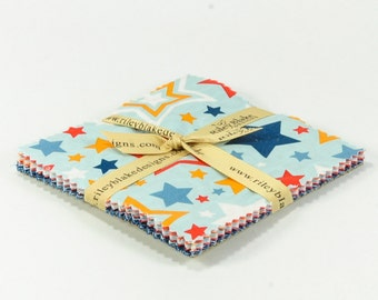 """Lucky Star 5"""" Squares Charm Pack by Zoe Pearn for Riley Blake, 18 pieces"""