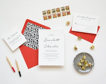 Wedding Invitation Sample - The Scarlett Suite