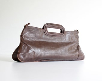 Vintage 1970s Chocolate Brown Leather Clutch