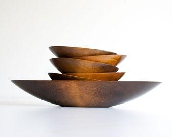 Vintage Danish Modern Style Oval Wood Salad Bowl Set