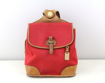 Vintage Dooney and Bourke Cabriolet Collection Red Cavas With Tan Leather Backpack, Vintage Dooney Backpack
