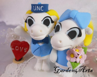 NEW--Custom Wedding Cake Topper--Love College Mascot Couple with Circle Clear Base