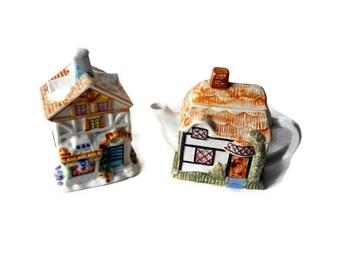Cottage Tea Pot and Sugar Bowl or Tea Caddy. Vintage 2 Piece Set