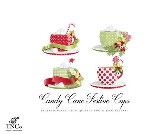 Teacup clipart, Christmas Clipart, Festive clipart, Polka dot teacups, Red teacups, Green Teacup, commercial use clipart, Digital Clipart