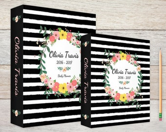 3-Ring Binder Black & White Stripes Floral