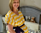 LINED Emmett Maternity Delivery Gown - Yellow and White Chevron - Lined in Your Choice of Color - By Mommy Moxie on Etsy
