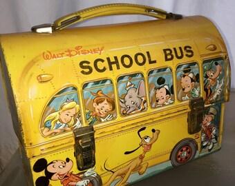1960u0027s vintage aladdin industries walt disney yellow school bus metal dome lunch box mickey mouse & School bus lunch box | Etsy Aboutintivar.Com