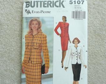 Misses Evan Picone Suit Pattern, Size 12-14-16, Misses Suit Pattern, Butterick 5107, Uncut and Factory Folded