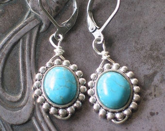 Turquoise Blue and Silver Earrings, Regency style