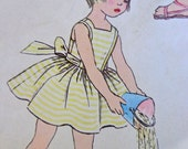 50s Girl's Dress & Pinafore Pattern Simplicity 2437 Size 1 Peter Pan Collar Puff Sleeves