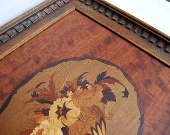 Framed Wood Inlay Picture, Marquetry Parquet, Flowers Vase, 19 x 18