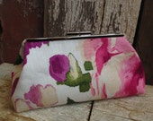 Bridesmaid Clutch Shades of Purple and Pink Watercolor Flowers