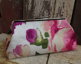 SALE Ready to Ship Only - Clutch Shades of Purple and Pink Watercolor Flowers