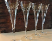 Princess House Heritage Pattern (4) Tall Toasting/Champagne Fluted Glasses