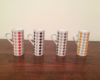 Set of four mid century modern espresso/hot chocolate/coffee/tea set