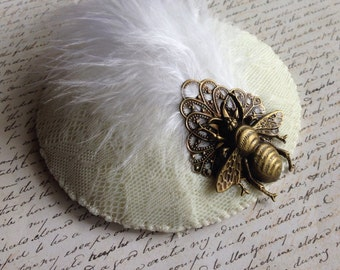 The White Bee - fascinator