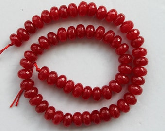 Full Strand Red Jade Faceted Rondelle Beads 10x7mm
