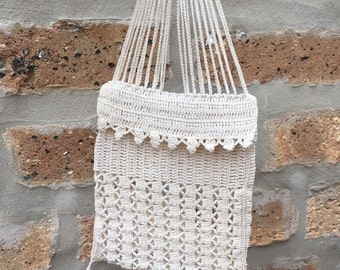 Antique 1930's handmade crocheted pouch purse off white ring pull closure knit tab top patterned small handbag purse lovely small petite