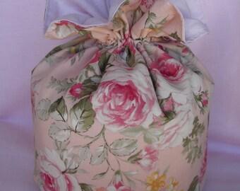 Petit pochon style shabby imprimé larges roses