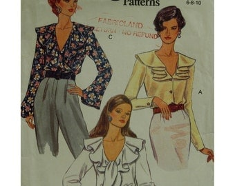 "Ruffle Collar Blouse Pattern, Wrap, Button Front, V-neck, Long Sleeves, Tie Ruffle, Vogue No.8702  Size 6 8 10 Bust 30.5-32.5"" 78-83cm"