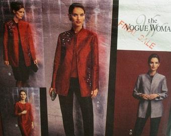 Evening Wear Pattern, Plus Size, Long Jacket, Raised Neck, Straight Dress, Sleeveless Top, Tapered Pants, Vogue No.2771 UNCUT Size 20 22 24
