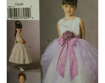 """Flower Girl Dress Pattern, Full Skirt, Scoop Neck, Sleeveless, Bolero, Organza Overskirt, Sash, Vogue  7819 Size 5 6 6X Chest 24-25.5"""""""