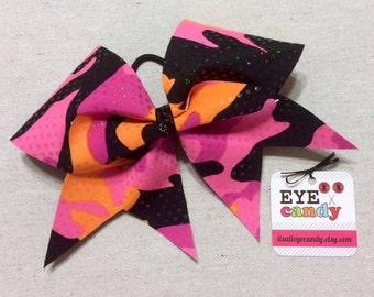 Came Neon Pink Orange Black 3 Inch Cheer Bow Softball Dance Gymnastics
