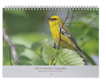 2016 Warbler Wall Calendar, Bird Calendar, Nature Calendar, Bird Photography