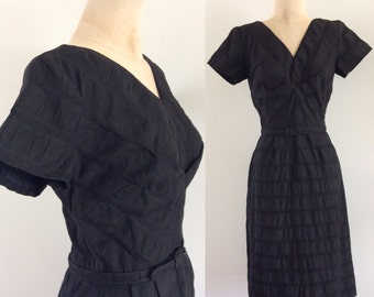 1960's Beautifully Textured Black Wiggle Dress w/ Matching Belt Vintage Dress Size Small Medium by Maeberry Vintage