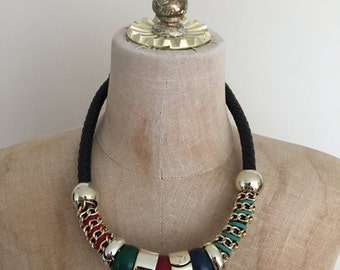 20% OFF 1980's Gold + Leather Statement Necklace