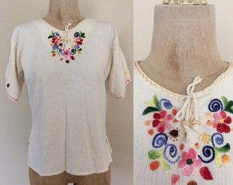 1970's White Embroidered Indian Cotton Shirt Lace Up Shirt Vintage Top Size Medium Large by Maeberry Vintage