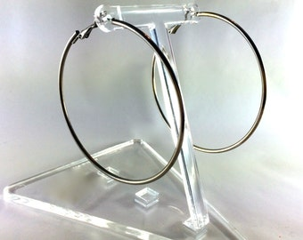 Huge silver hoop earrings